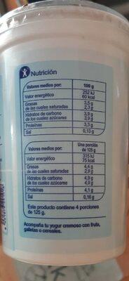 Yogur natural cremoso - Informations nutritionnelles - es