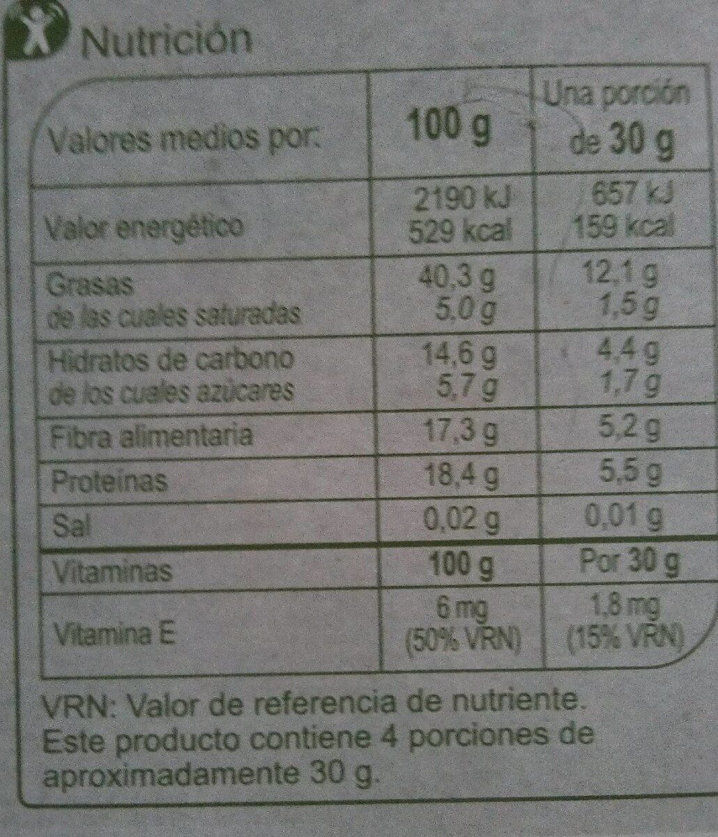 Barrita con cacahuetes, avellana, almedra y semillas - Nutrition facts - es