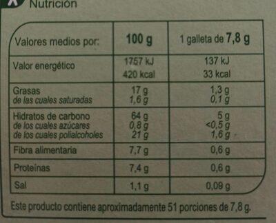 Digestive 0% azúcares añadidos - Informations nutritionnelles - es