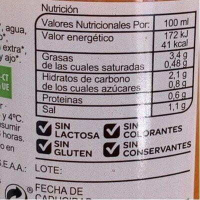 Gazpacho fresco - Informations nutritionnelles - es