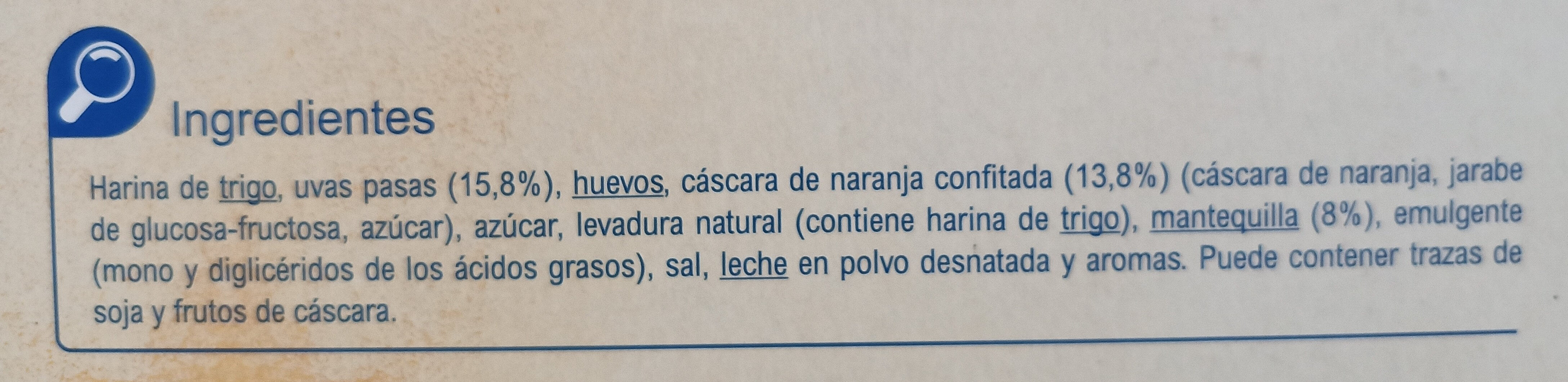 Panettone Tradicional - Ingredientes - es