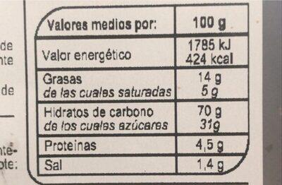 Galleta Jengibre - Nutrition facts - es
