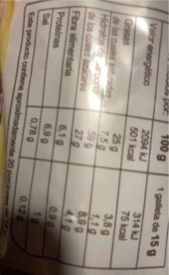 Digestive avena y chocolate con leche - Informació nutricional - es