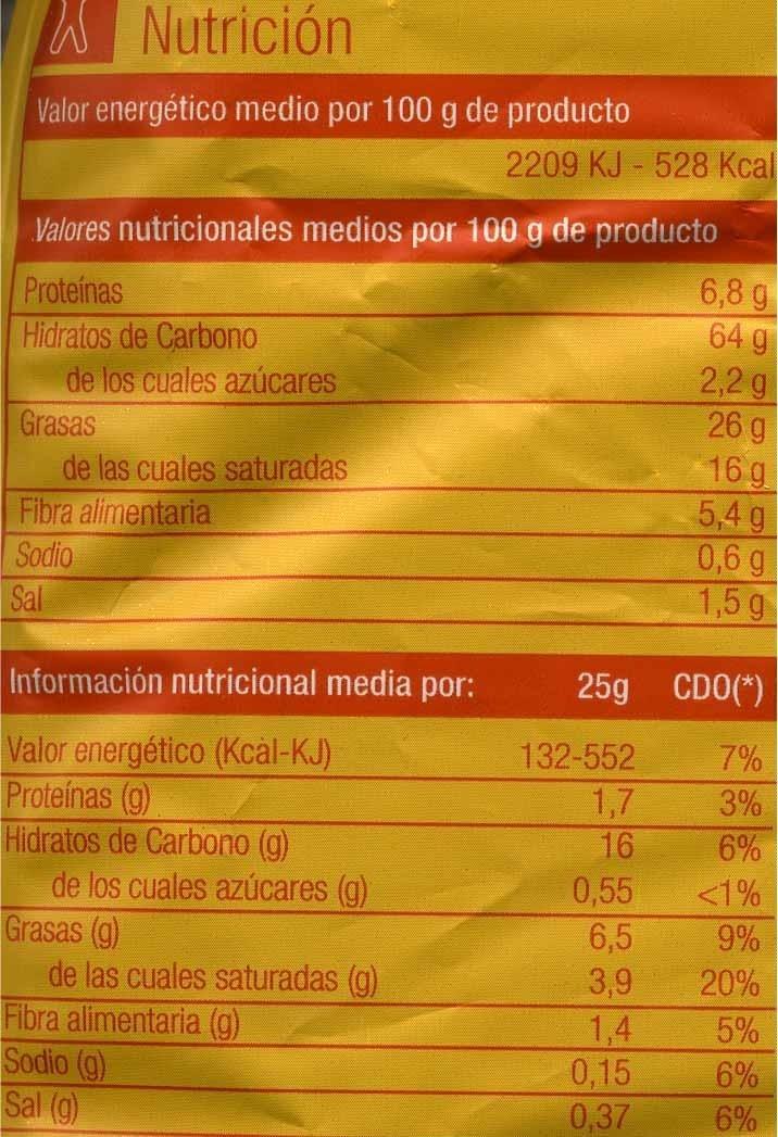Nachos sabor clásico - Información nutricional - es