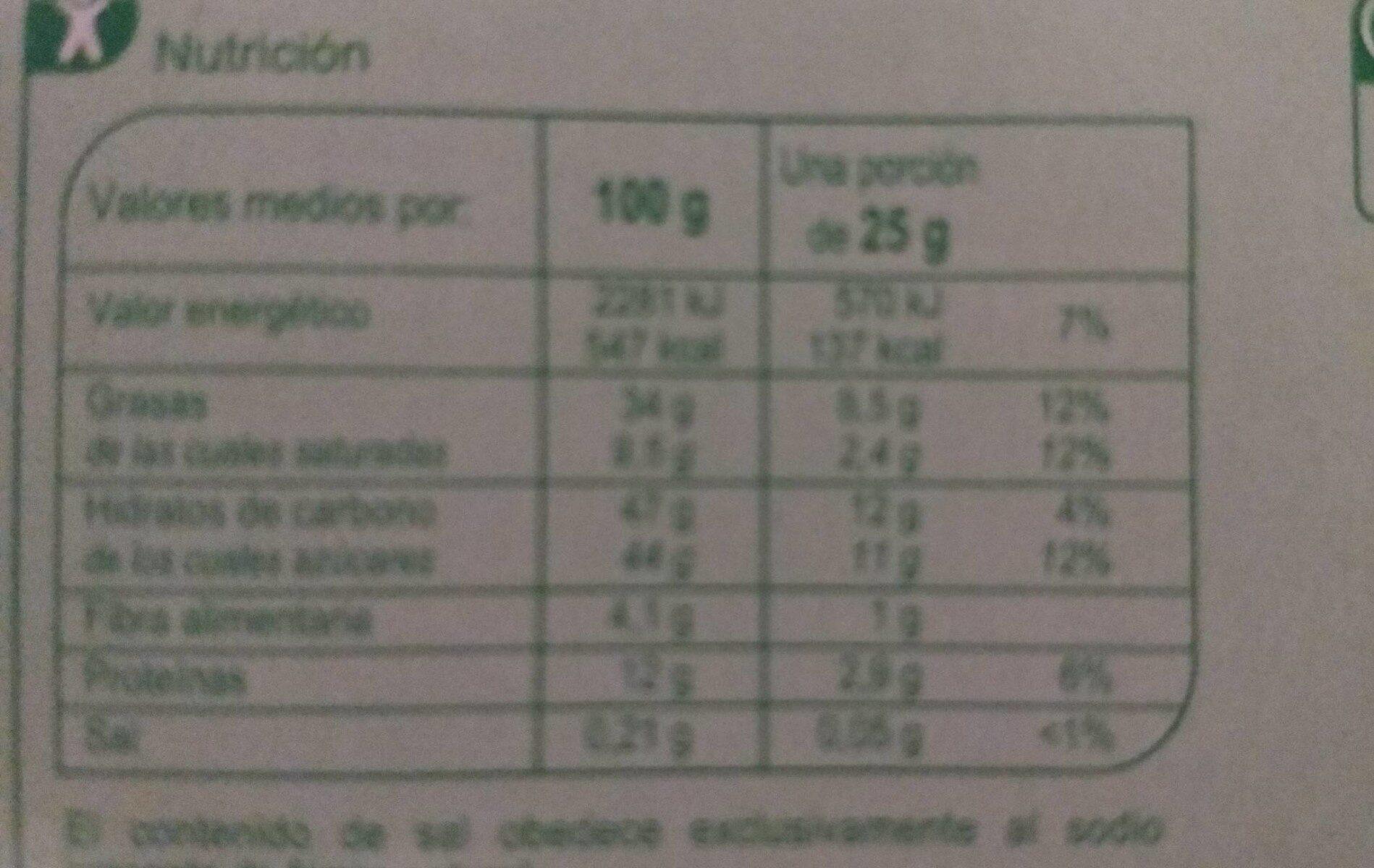 Turrón con avellanas - Informations nutritionnelles - es