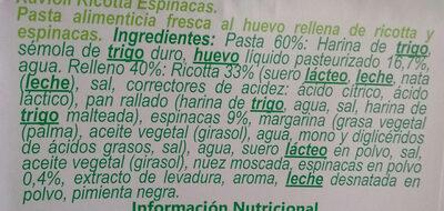 Ravioli ricotta y espinacas - Ingrédients - es