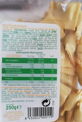 Ravioli ricotta y espinacas - Informations nutritionnelles - es