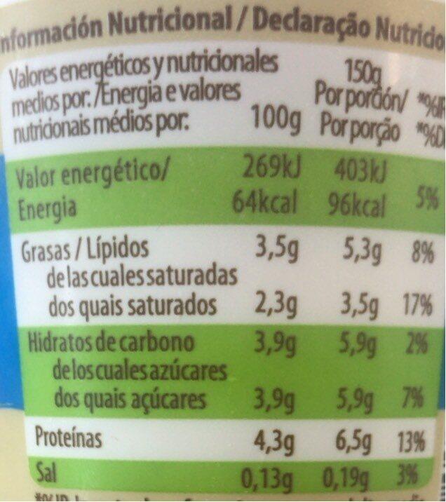 Yogur natural - Informació nutricional - es