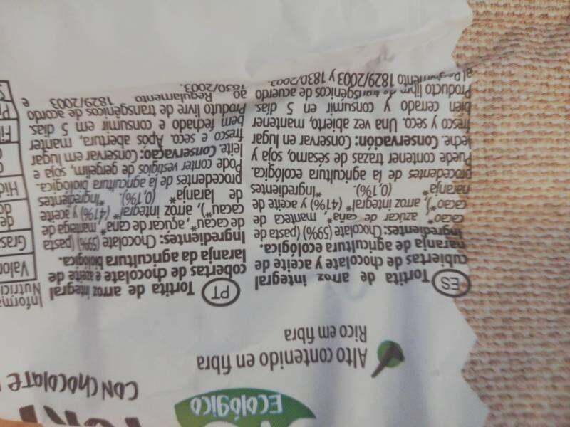 Tortitas de arroz con chocolate negro y naranja - Nutrition facts - en