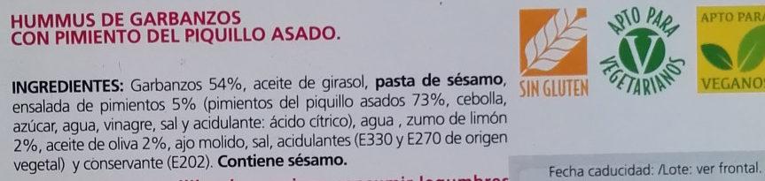 Hummus con pimiento del piquillo asado - Ingredientes - es