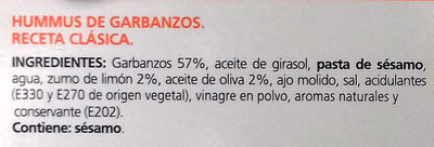 Hummus Receta clásica - Ingredientes