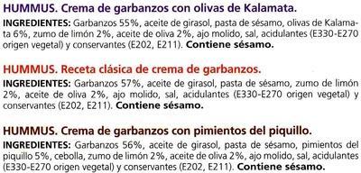 Hummus Pack 3 sabores - Ingrédients