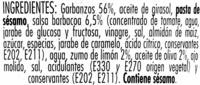 Hummus Sabor a barbacoa - Ingredientes - es
