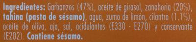 Hummus con zanahoria y cilantro - Ingrédients - es