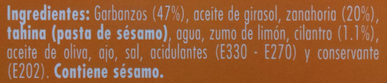 Hummus con Zanahoria y Cilantro - Ingredients