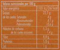 Hummus con Zanahoria y Cilantro - Informació nutricional