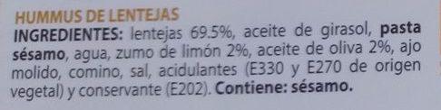 Hummus de lentejas - Ingredients