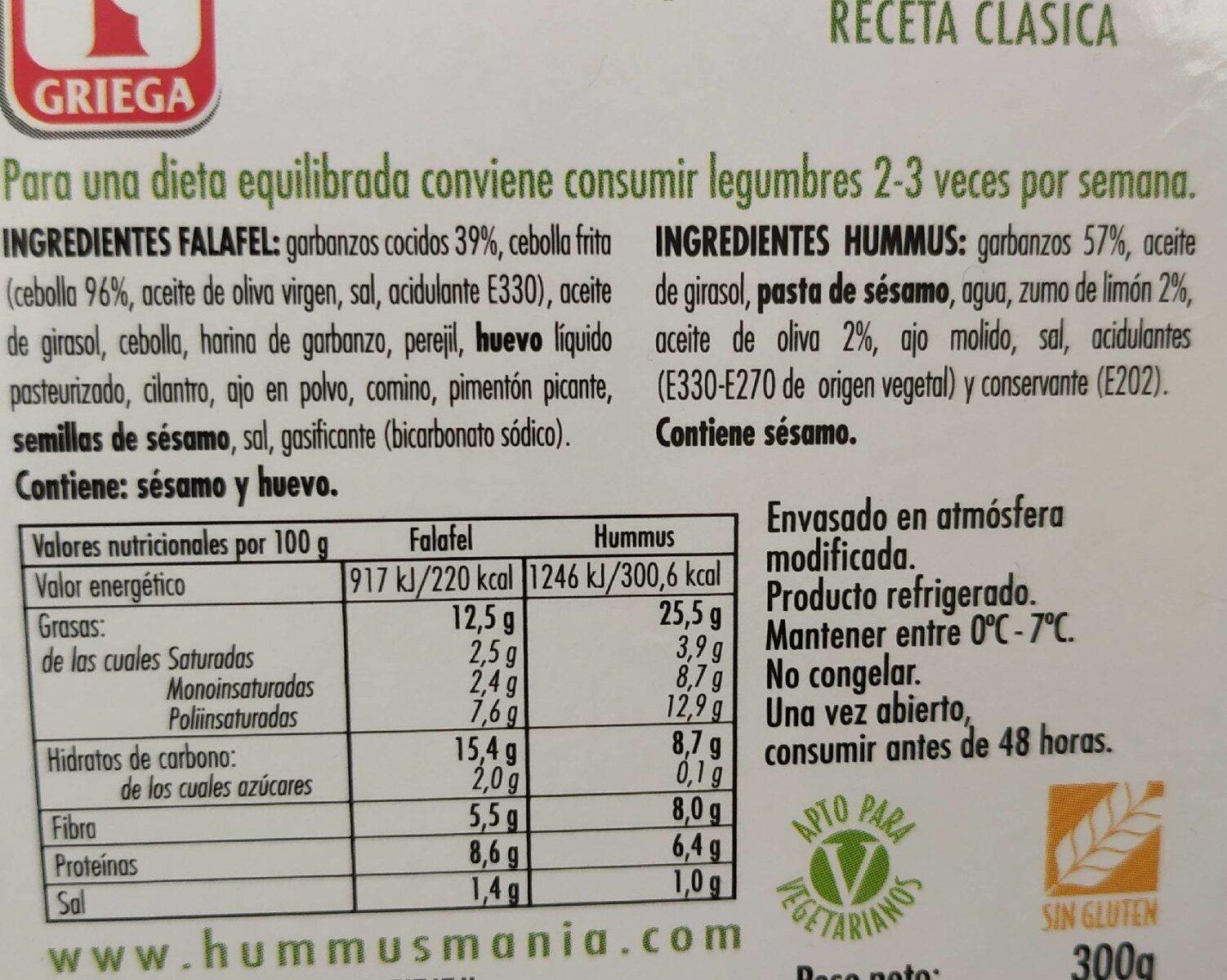 FALAFEL plus HUMMUS RECETA CLASICA - Información nutricional - es