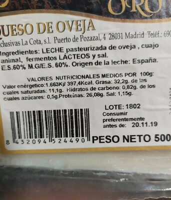 Queso de Oveja - Nutrition facts - es
