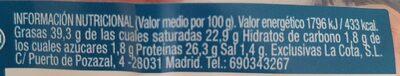 Queso tierno la patúa - Nutrition facts - es