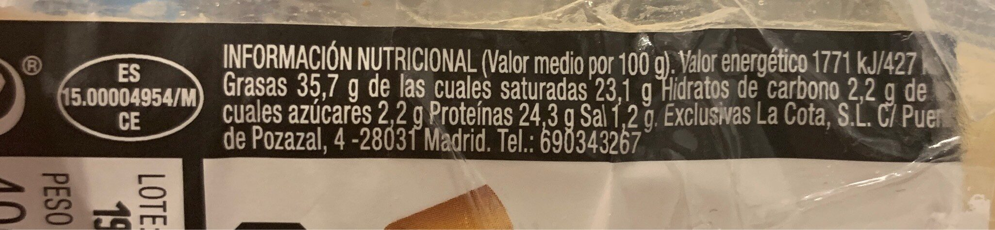Queso viejo - Nutrition facts - es