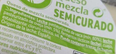 Queso mezcla semicurado - Ingredients - es