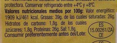 Queso mezcla curado - Nutrition facts - es