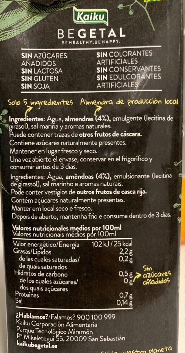 Vegetal de Almendra - Nutrition facts - es