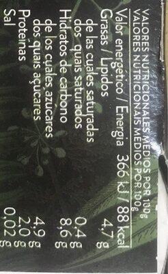 Begetal de almendra con vainilla - Información nutricional