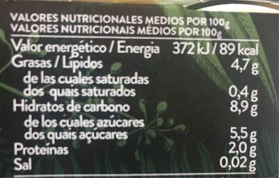 Begetal - Informació nutricional