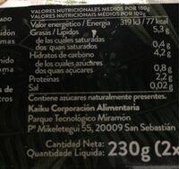 Begetal de almendra natural sin azucares - Informació nutricional