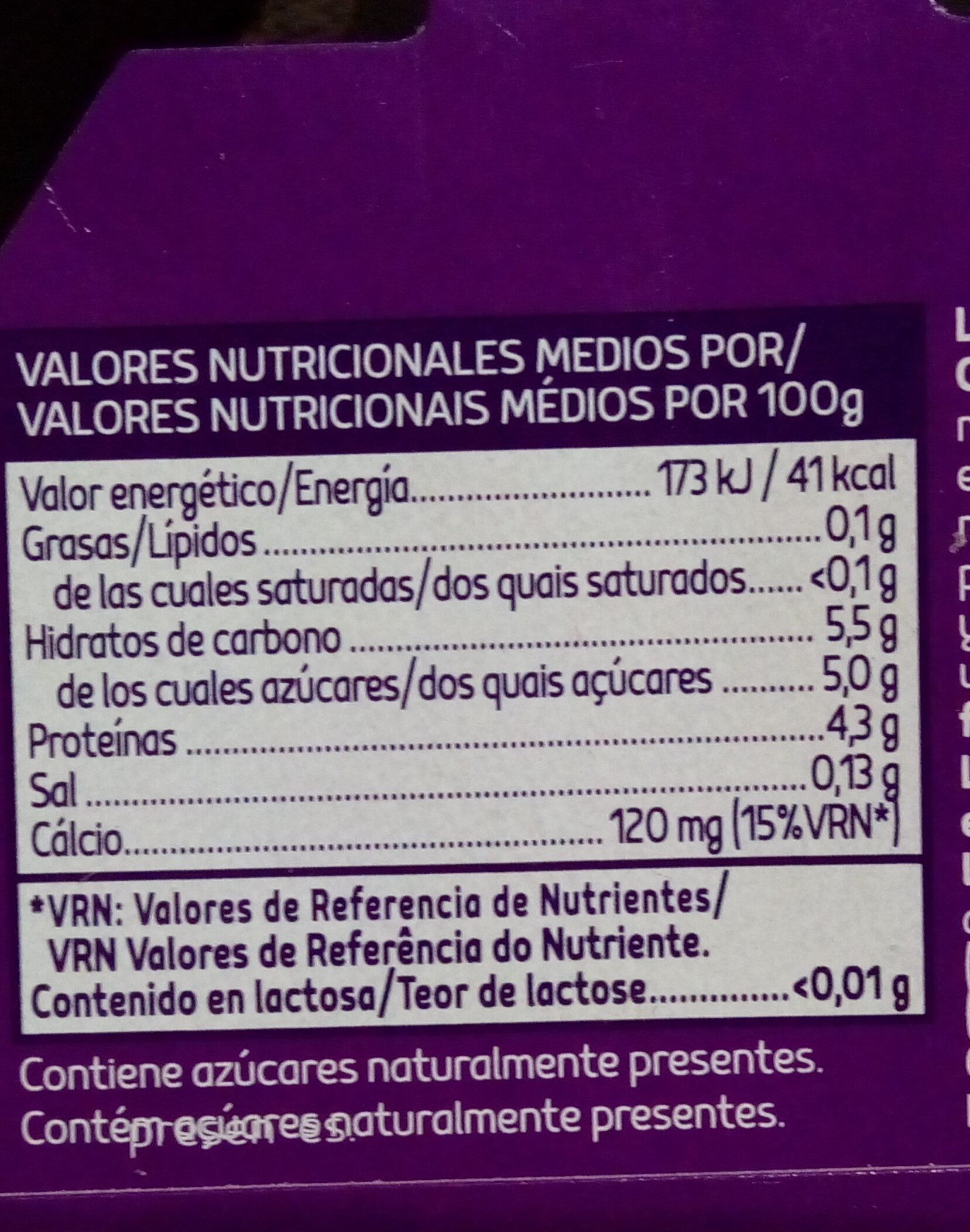 Sin lactosa yogur con melocoton - Nutrition facts - es