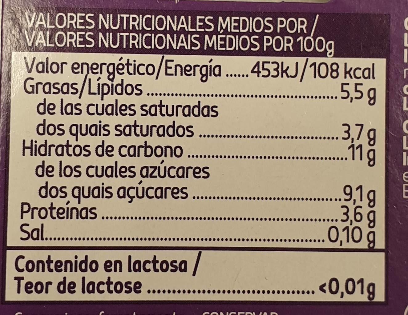 Yogur griego ligero natural azucarado sin lactosa - Nutrition facts