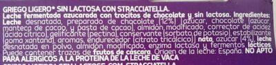 Yogur griego ligero con stracciatella sin lactosa pac - Ingredientes