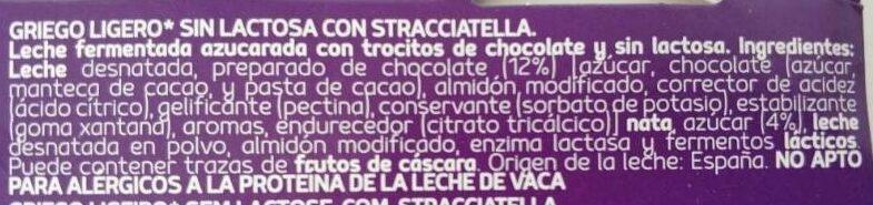 Yogur griego ligero con stracciatella sin lactosa pac - Ingredients