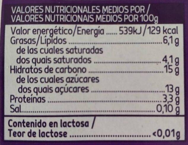 Yogur griego ligero con stracciatella sin lactosa pac - Nutrition facts
