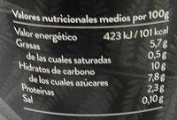Begetal de Almendra Natural - Información nutricional
