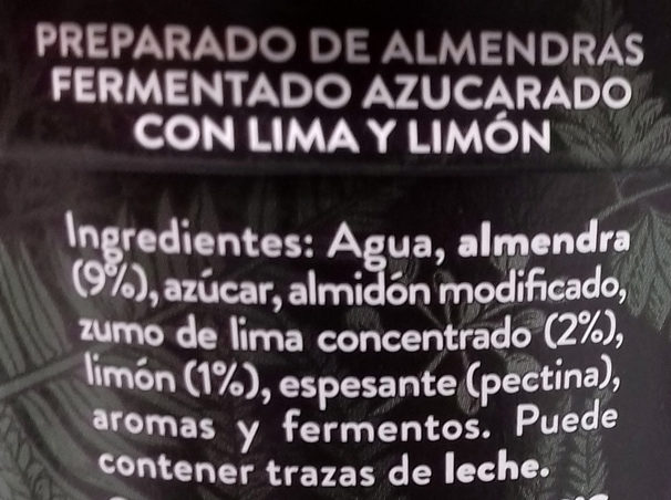 Kaiku Begetal de Almendra con Lima - Ingredientes