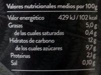 Begetal de Almendra con Melocotón - Informació nutricional