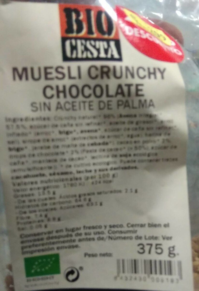 Muesli Crunchy Chocolate - Product - es