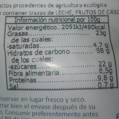 Galletas de avena y lino - Informations nutritionnelles - es