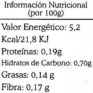 Caldo de verduras - Informations nutritionnelles