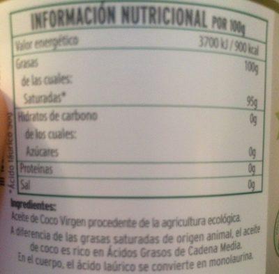 Aceite De Coco Virgen Extra Eco La Masia - Ingredients