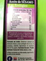 Aceite de sésamo - Ingredients - es