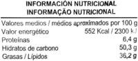 """Patatas fritas lisas """"Aliada"""" en aceite de oliva - DESCATALOGADO - Información nutricional"""