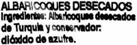 """Albaricoques deshidratados """"Aliada"""" - Ingredients"""