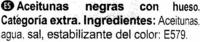 Aceitunas negras con hueso (DESCATALOGADO) - Ingredients - es