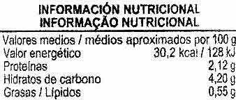 """Alcaparras """"Aliada"""" - Información nutricional"""