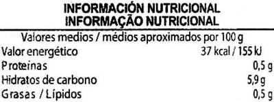 """Guindillas encurtidas """"Aliada"""" - Información nutricional"""