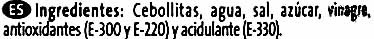 """Cebollitas encurtidas """"Hipercor"""" - Ingredientes"""